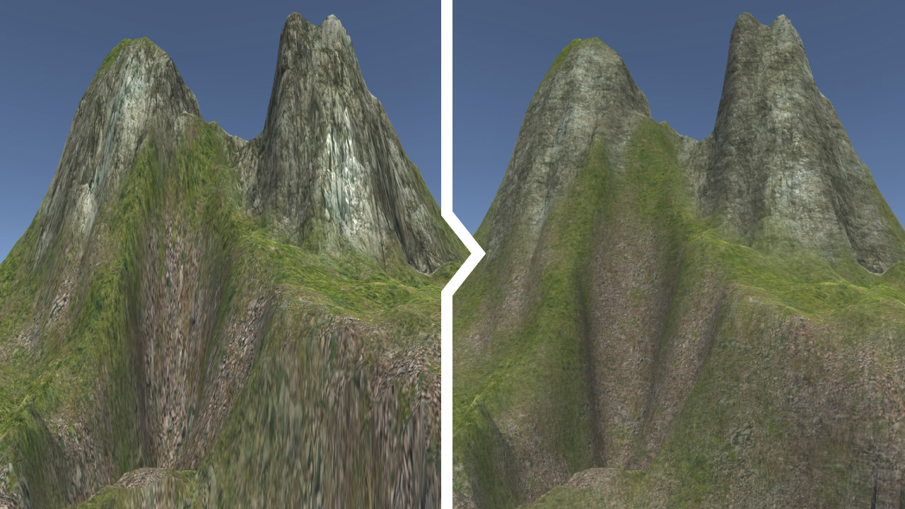 The difference between planar and triplanar texture UV mapping
