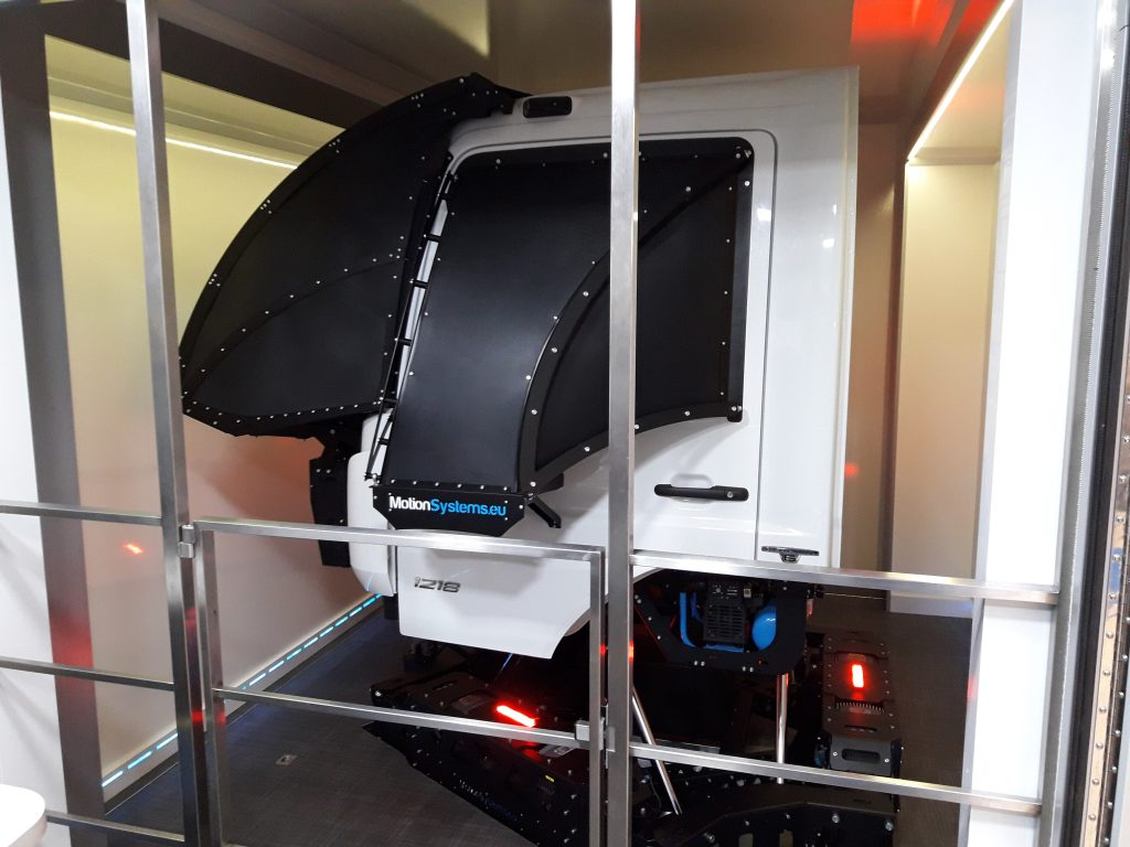 A truck cabin mounted on a 6DOF platform